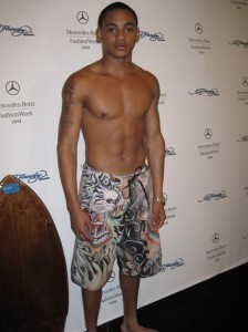 Corde Broadus aka SPANK modeling for Mercedes-Benz Fashion Week Swim 2011 Ed Hardy (4)