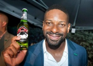 DJ Irie with custom Beck's bottle