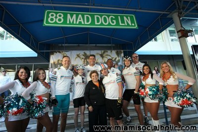Dolphins Cheerleaders, CEO Mike Dee, Christina Mandich , Joe Rose, Nat Moore, Michael Mandich, Kim Bokamper, Donna Shalala and Dr. Pascal Goldschmidt
