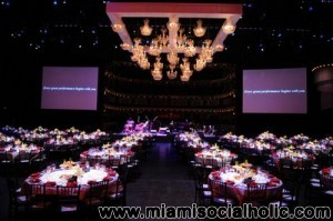 The stage is set!  The Adrienne Arsht Center 5th Anniversary Gala in the Sanford and Dolores Ziff Ballet Opera House