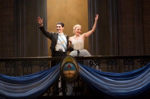 "Photo:  CAROLINE BOWMAN (Eva); JOSH YOUNG (Che) & SEAN MacLAUGHLIN (Perón) in the National Tour of ""EVITA"" by TIM RICE and ANDREW LLOYD WEBBER; the Tony Award®-winning musical directed by MICHAEL GRANDAGE and choreographed by ROB ASHFORD; PHOTO CREDIT - Richard Termine; photo call: Tuesday, September 10, 2013; 1:00 PM at the Providence Performing Arts Center; Providence, Rhode Island; Photograph: © 2013 Richard Termine  PHOTO CREDIT - Richard Termine"