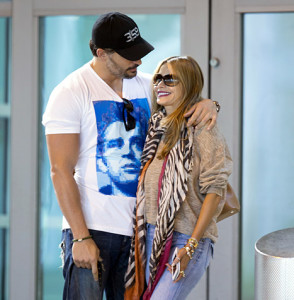 Sofia Vergara and Joe Manganiello arrive in Miami, Florida on July 24, 2014. Credit: Splash News